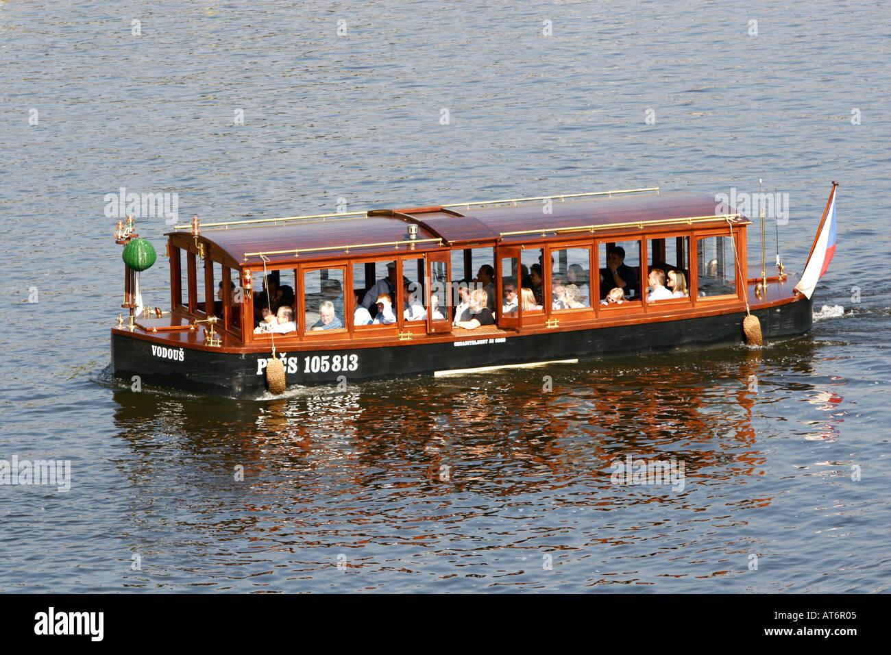 Tourist boat in Prague River Czech Republic - Stock Image