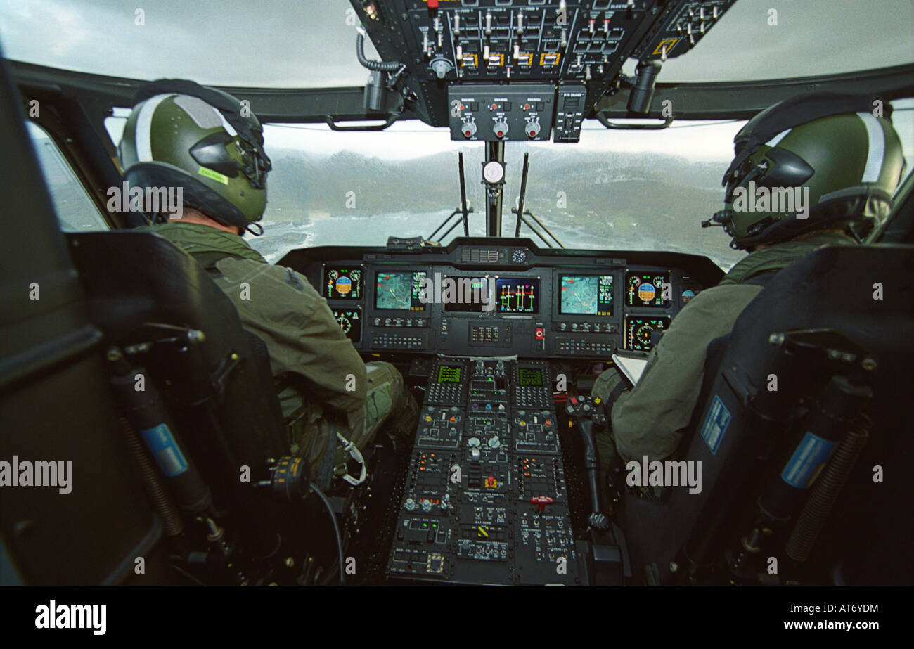 Cockpit view in a Merlin helicopter from 824 Naval Air Squadron - Stock Image