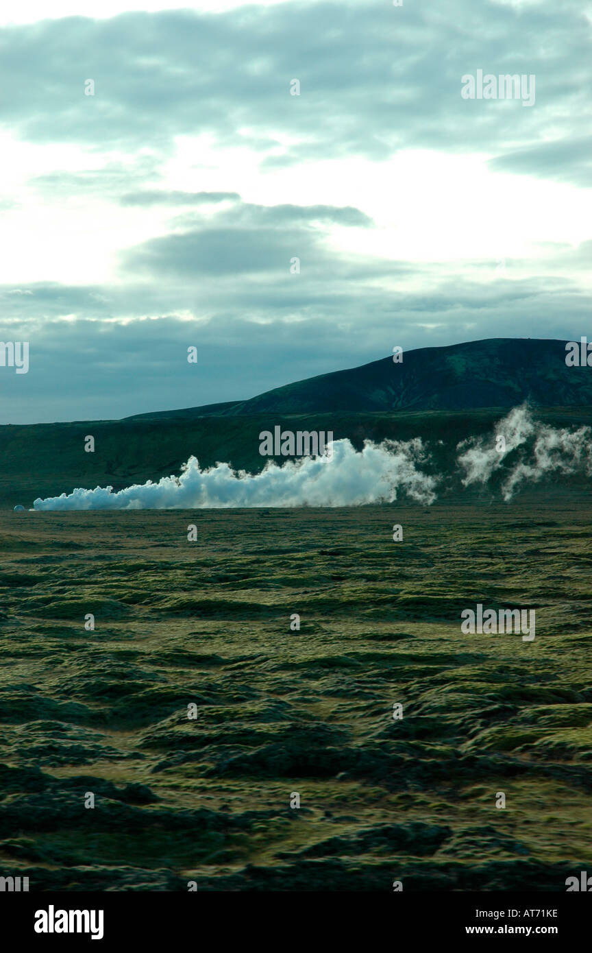 Steam escaping from vent in ground near Reykjavik Iceland - Stock Image