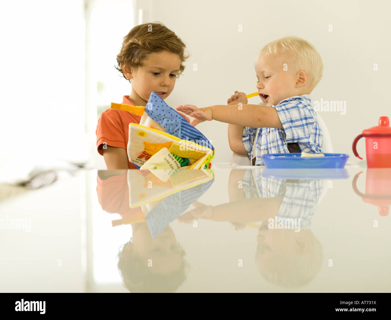 Two boys (4-5), (12-24 months), looking at picture book - Stock Image