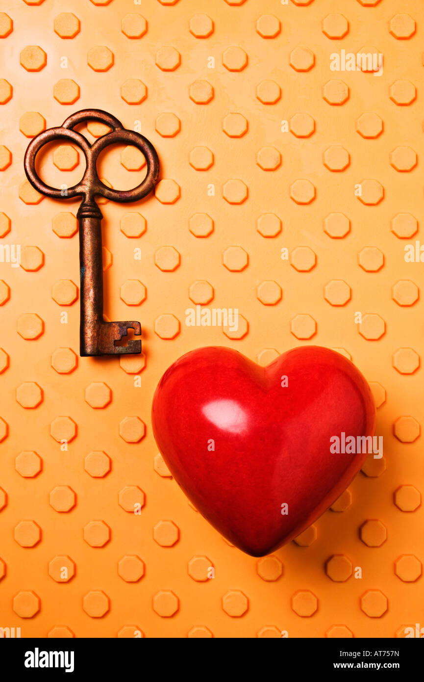 Red heart and key - Stock Image