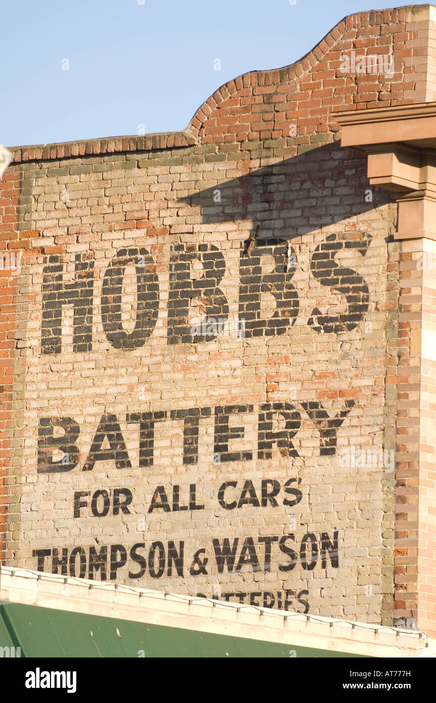 Hobbs Battery vintage billboard painted on the side of a building - Stock Image