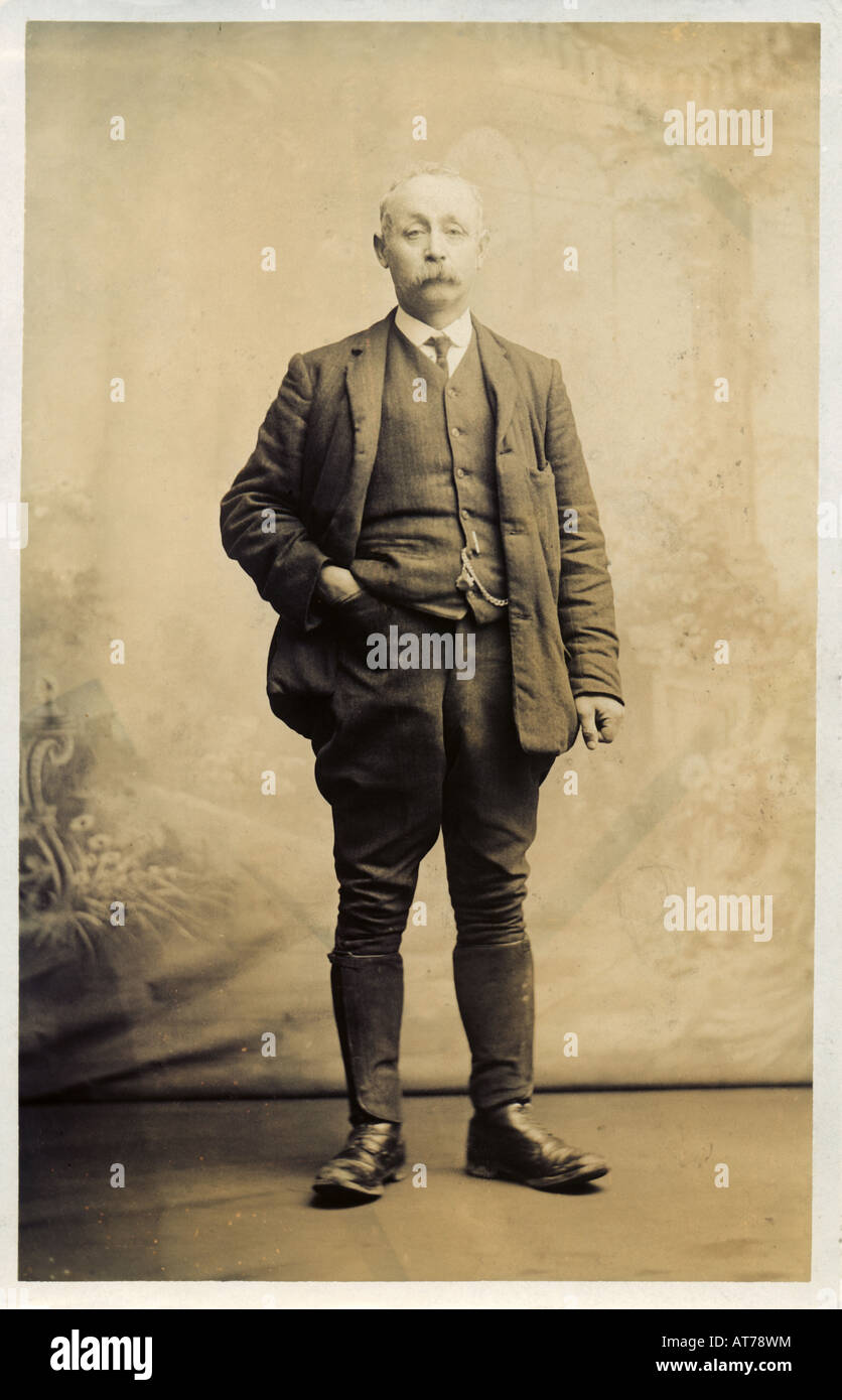 Victorian or Edwardian Photograph Postcard of a man 1890s or 1900s by H H Dudley of Stoke-on-Trent - Stock Image