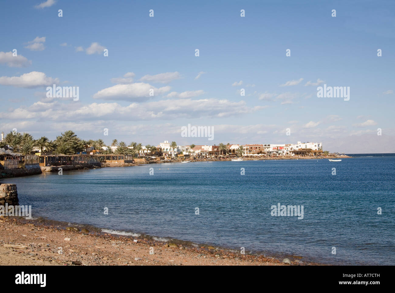 Dahab Sinai Egypt North Africa February Looking along the shoreline of this popular tourist destination - Stock Image