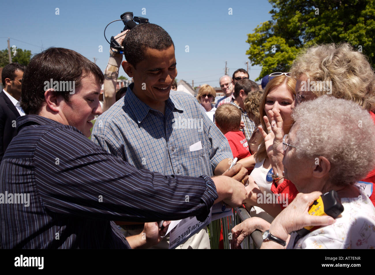 Barack Obama campaigning in Dubuque Iowa on June 9 2007 - Stock Image
