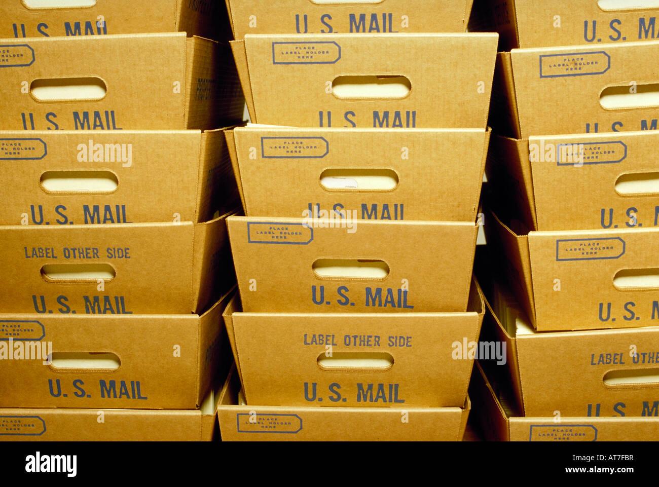 Cartons of US postal mail - Stock Image