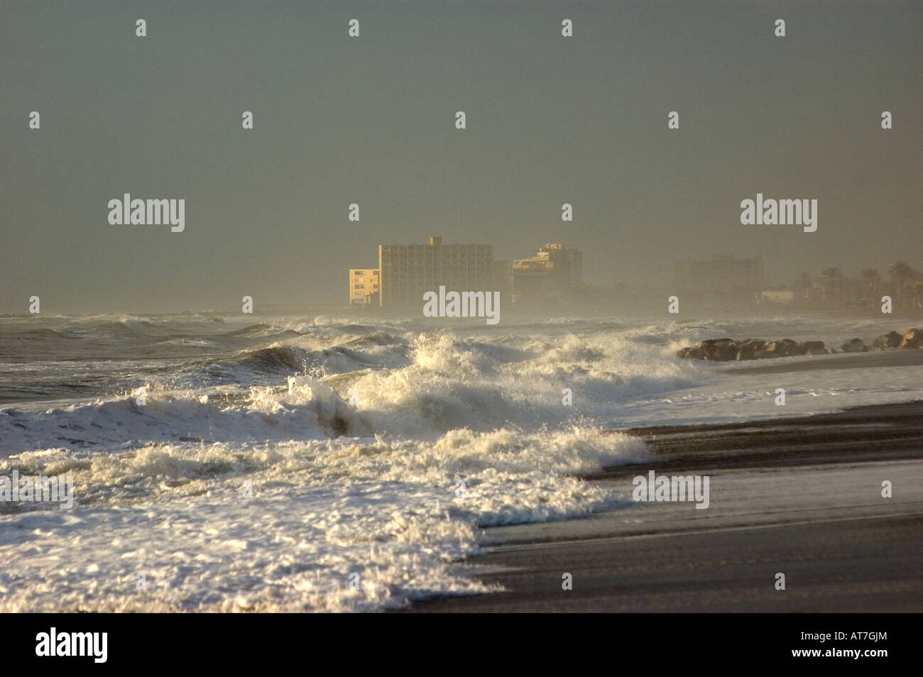 Beach Hotel Obscured By Spray From Rough Sea Malaga Spain Stock