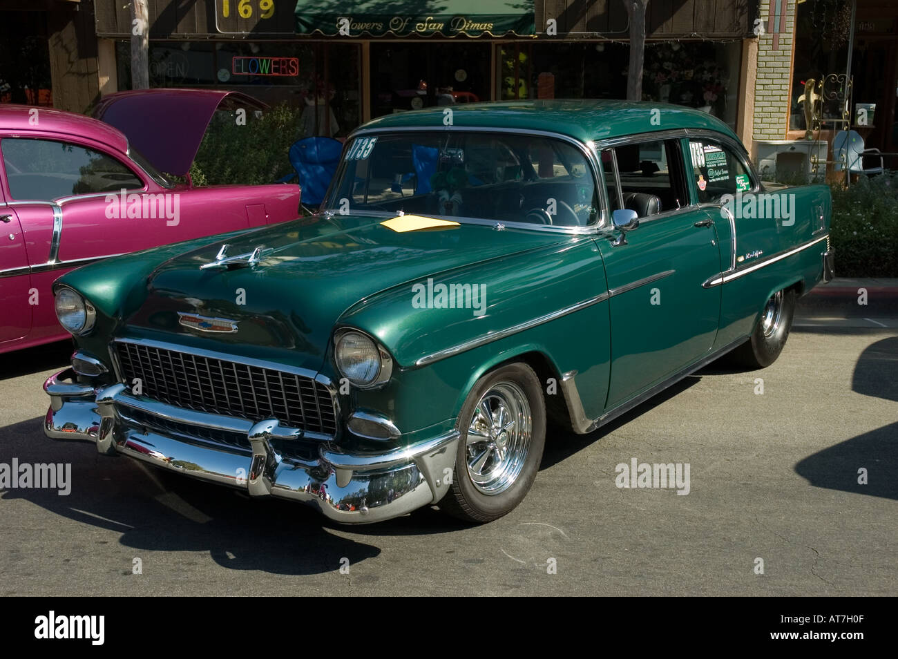 Los Angeles California Car Show Antique Customized Chevrolet Chevy Bel Air  1955 55 Green   Stock
