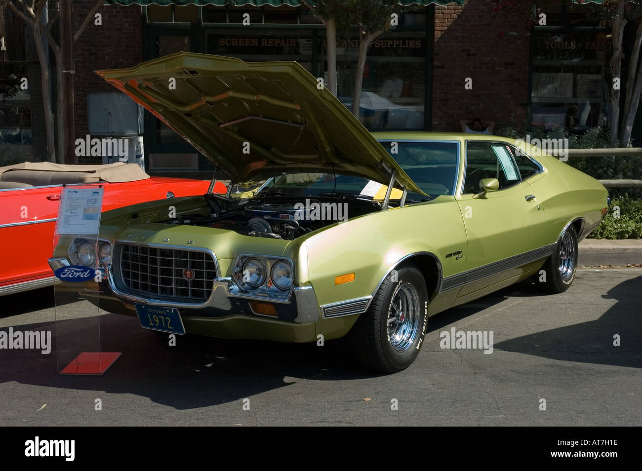 Ford Torino Stock Photos Images Alamy 1970 Gran Specs Los Angeles California Car Show Antique Customized 1972 72 Green Open Hood Engine