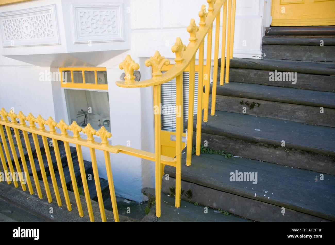 Victorian cast iron railings outside house North Parade Aberystwyth Wales UK - Stock Image
