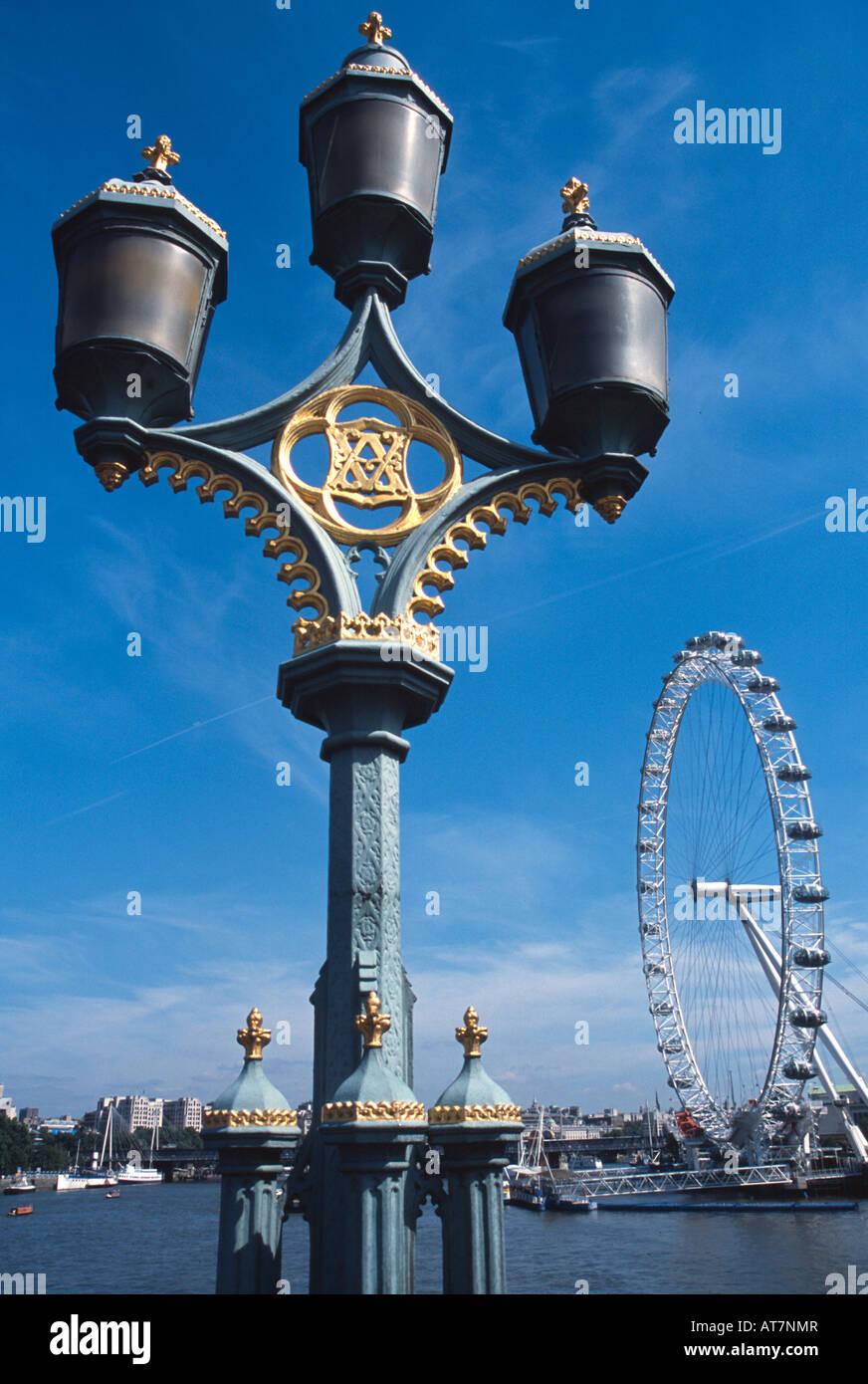 ornate lighting. Westminster Bridge River Thames Ornate Lighting Column Plus British Airways London Eye Beyond England Uk Gb E