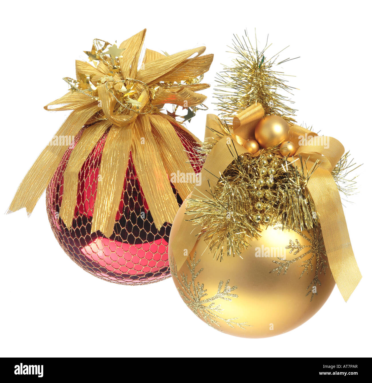 Baubles - Red and Gold Christmas Decorations. - Stock Image