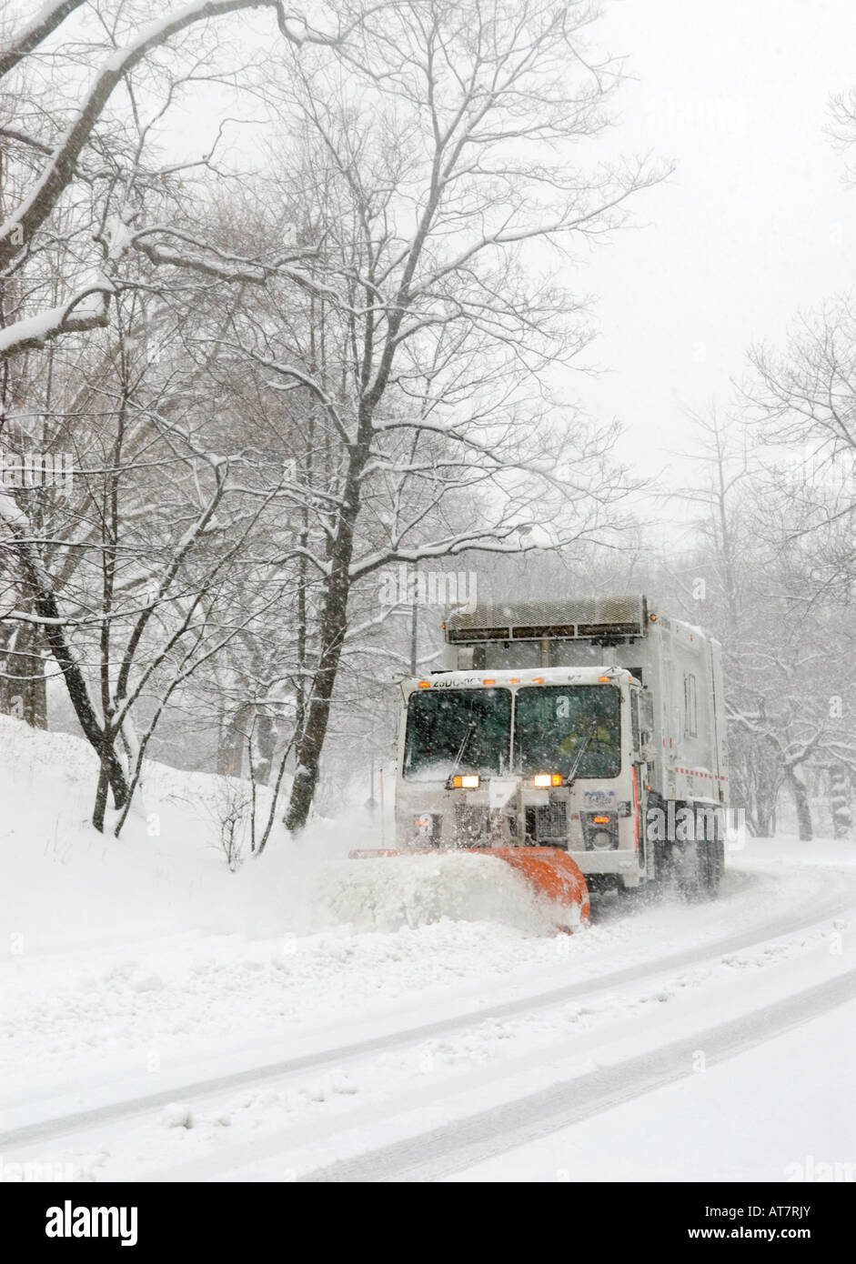 Snowplow in Central Park NYC - Stock Image