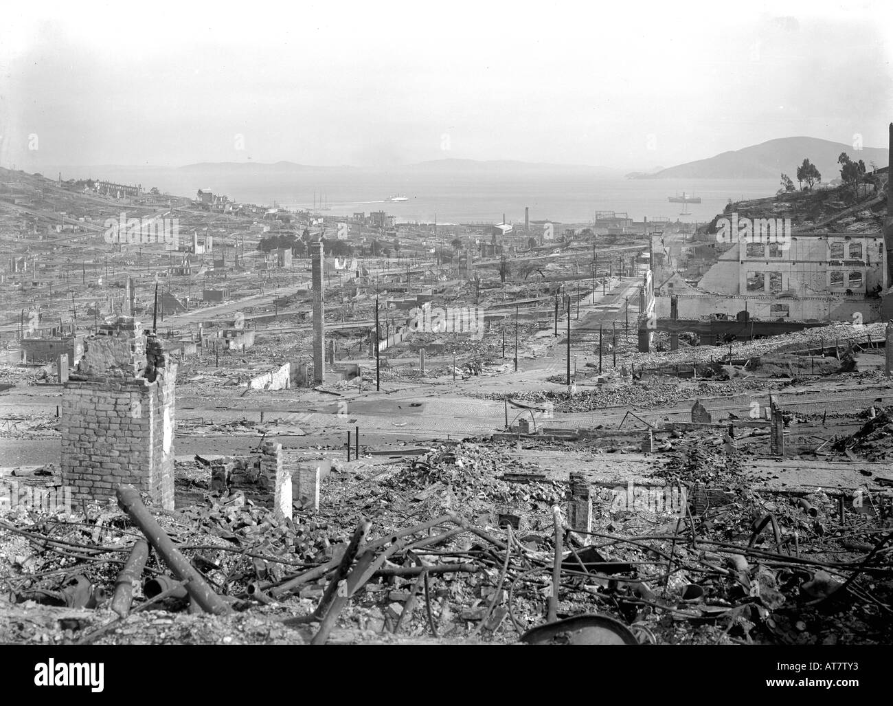 Aftermath of the great 1906 San Francisco Earthquake. - Stock Image