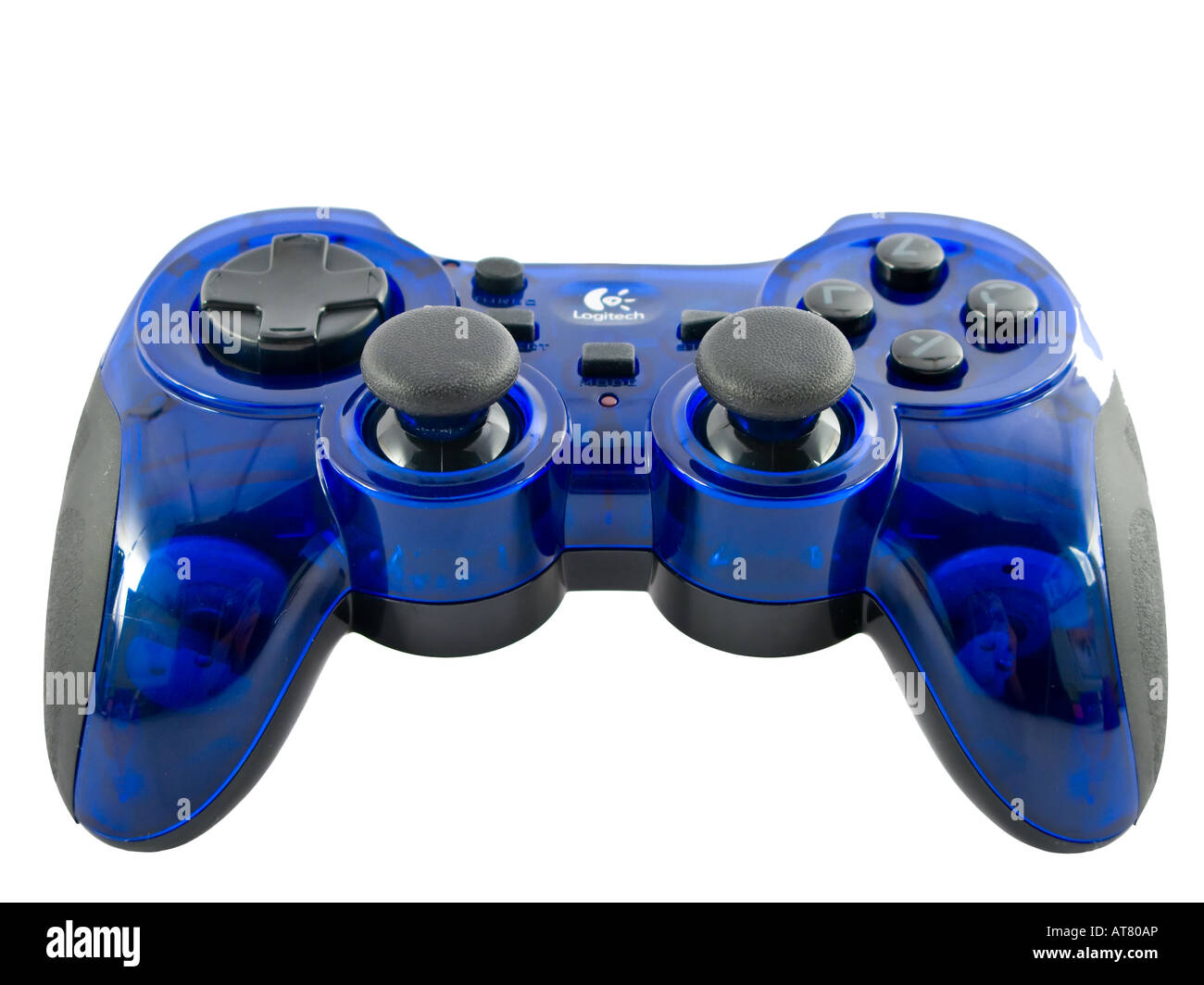 blue video game controller detail for console - Stock Image