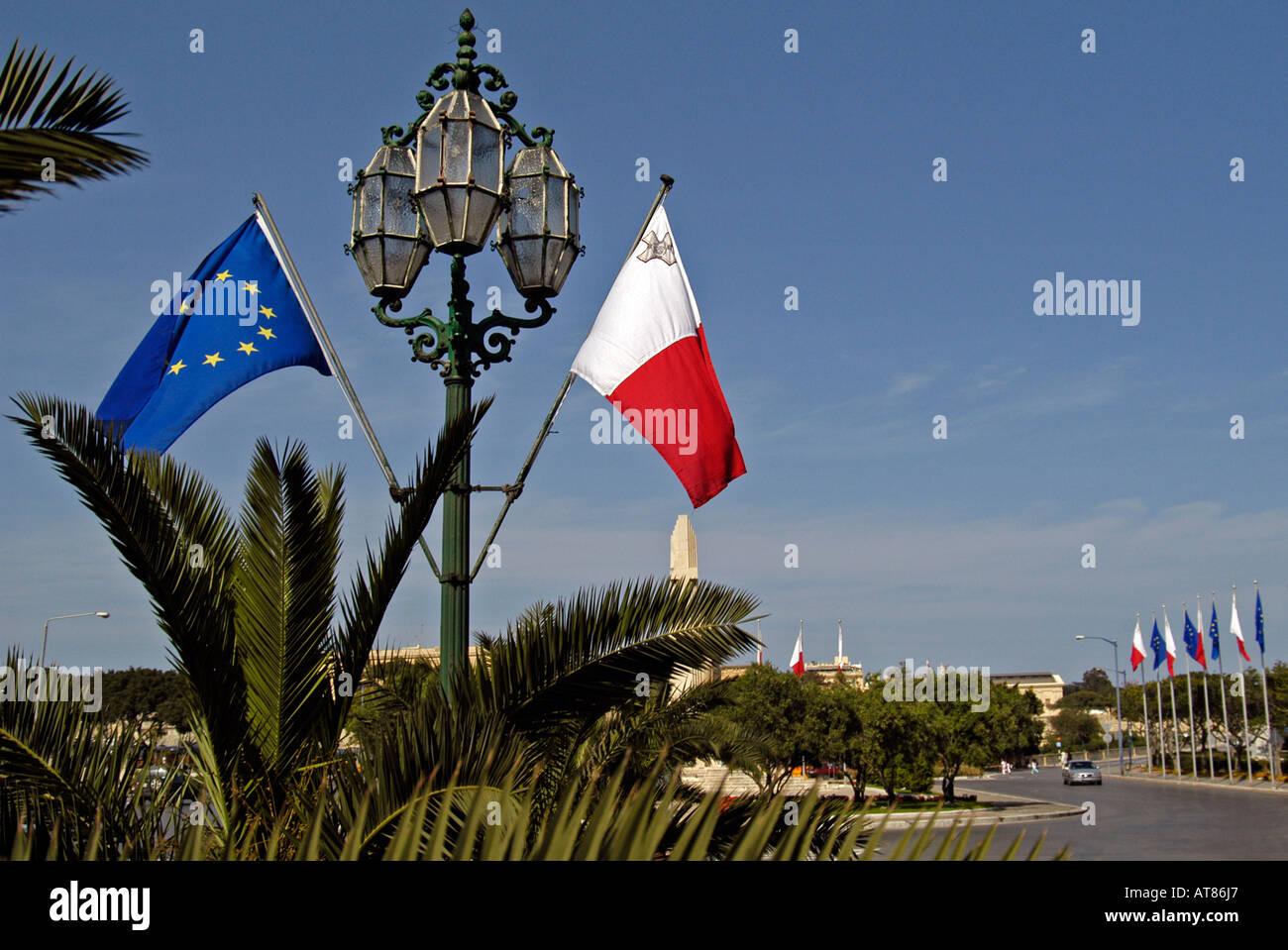 Maltese and European Union flags Valletta Malta Stock Photo