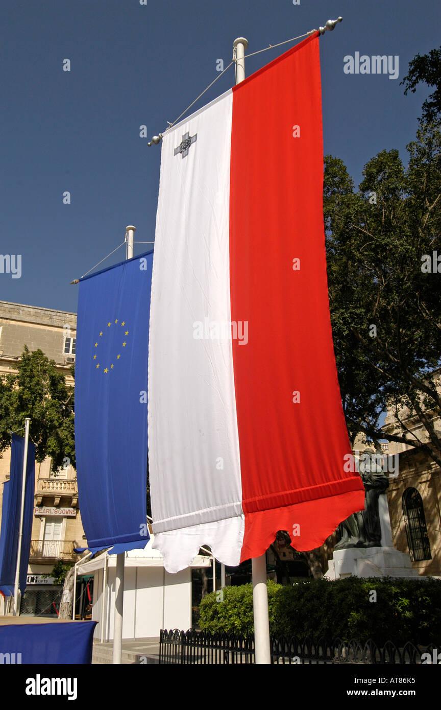 Maltese and European Union flags Valletta Malta - Stock Image