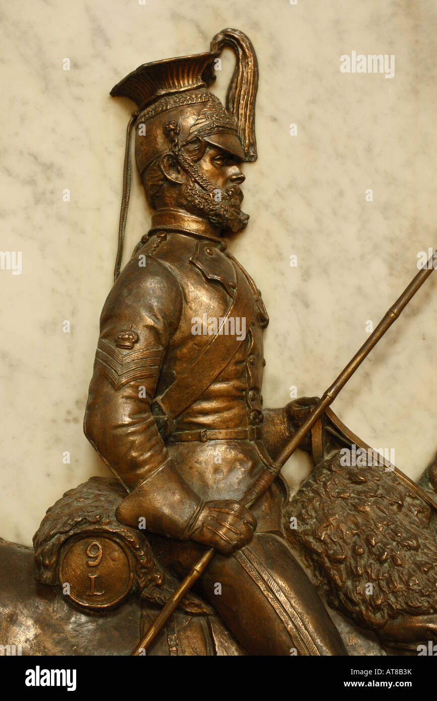 Exeter Cathedral Devon memorial monument to the 9th Queens Royal Lancers of the British Army who served in India - Stock Image