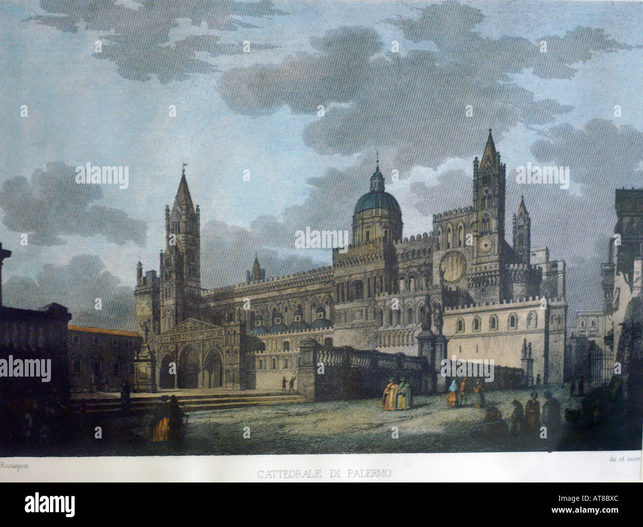 Palermo Sicily Italy Old Print of the Cathedral of Palermo c1800 - Stock Image
