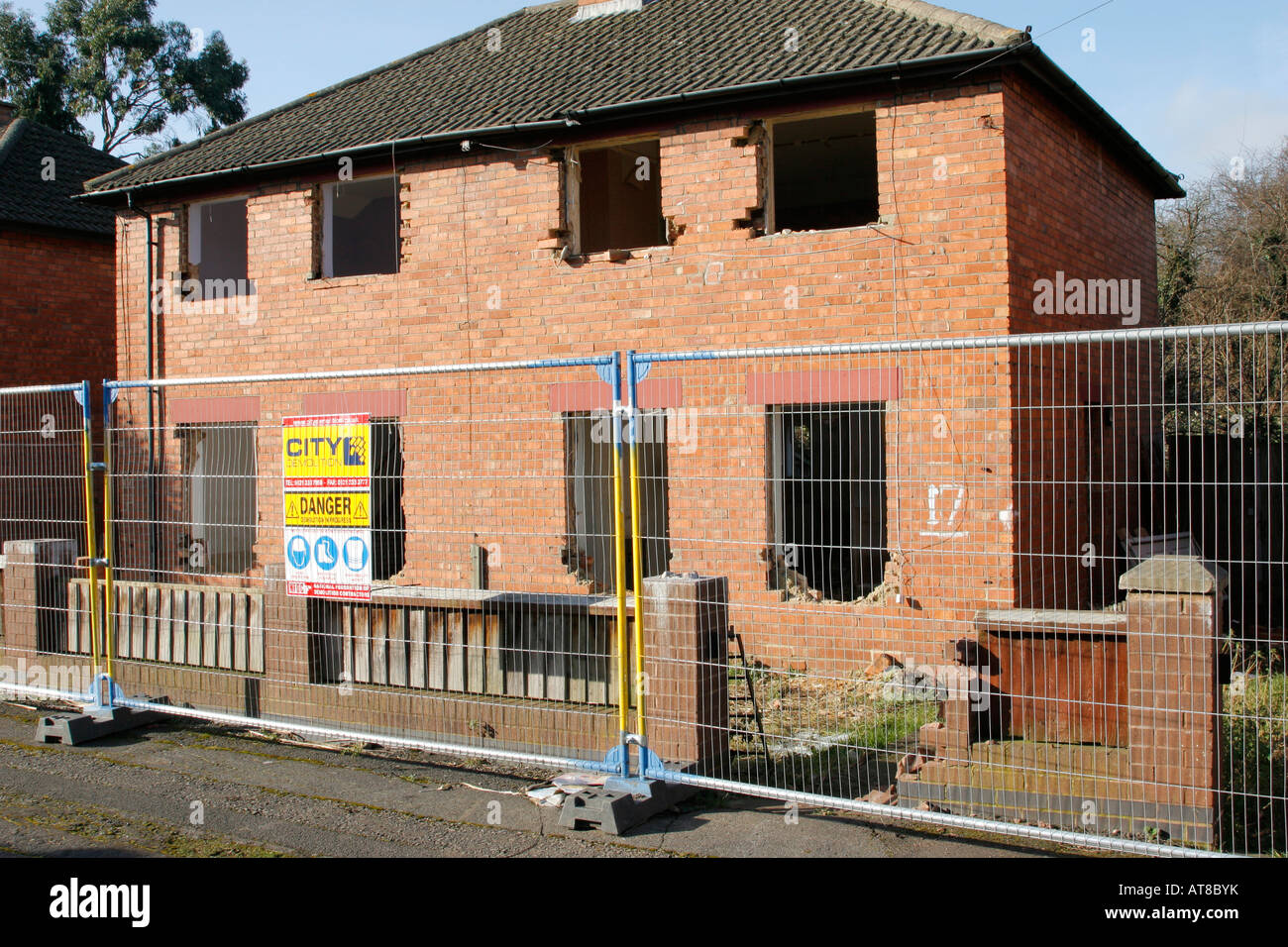 Council housing in the process of being demolished in St. Pauls, Cheltenham, UK - Stock Image