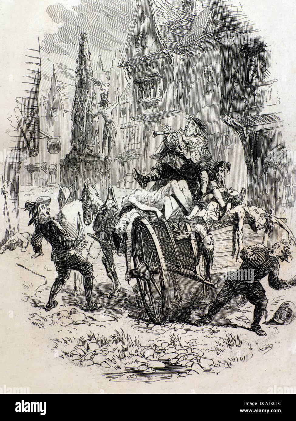 Wood Cut Plague Court Black Death London England 1347-1350