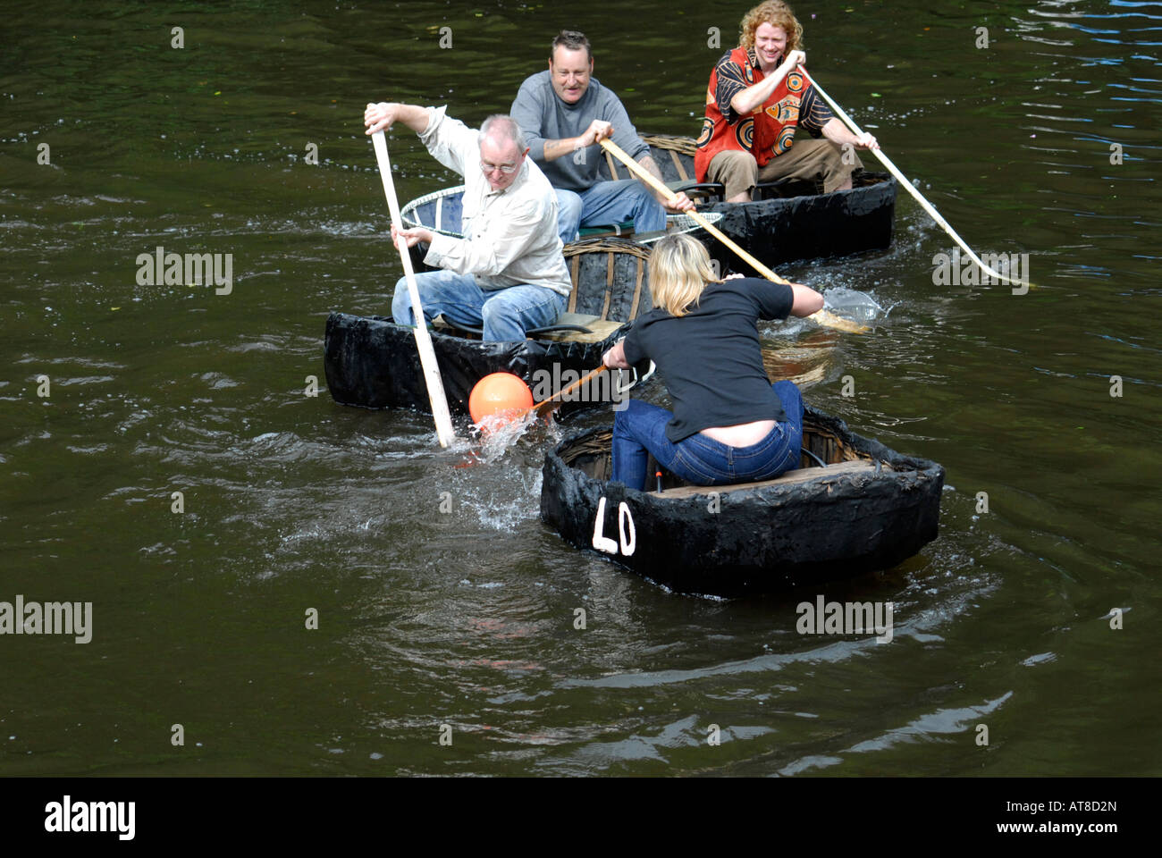 Playing Water Polo during the Coracle Races on the Teifi at Cilgerran, West Wales. Stock Photo