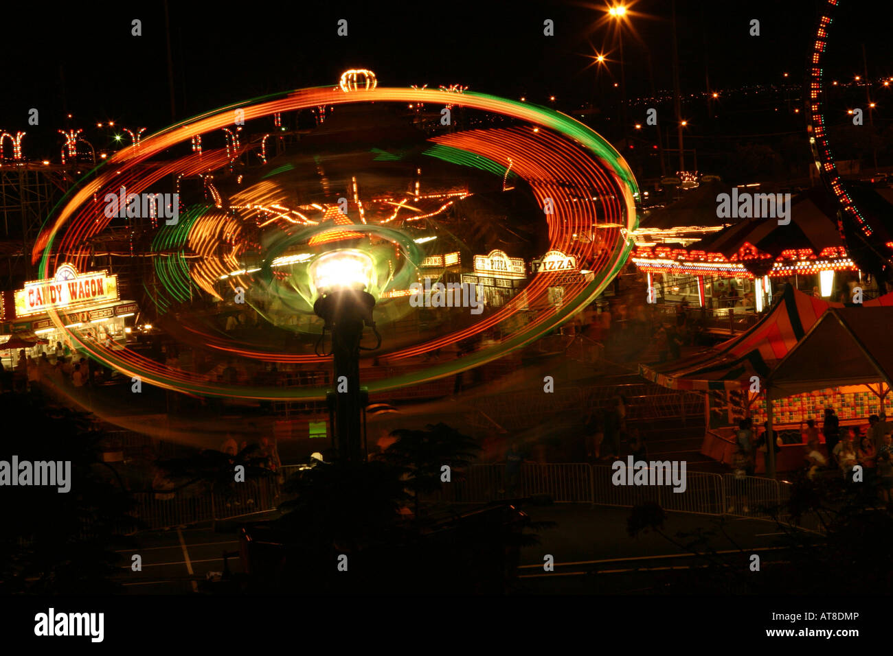 Long-exposure of carnival ride at the 50th State Fair on Oahu, Hawaii. Stock Photo