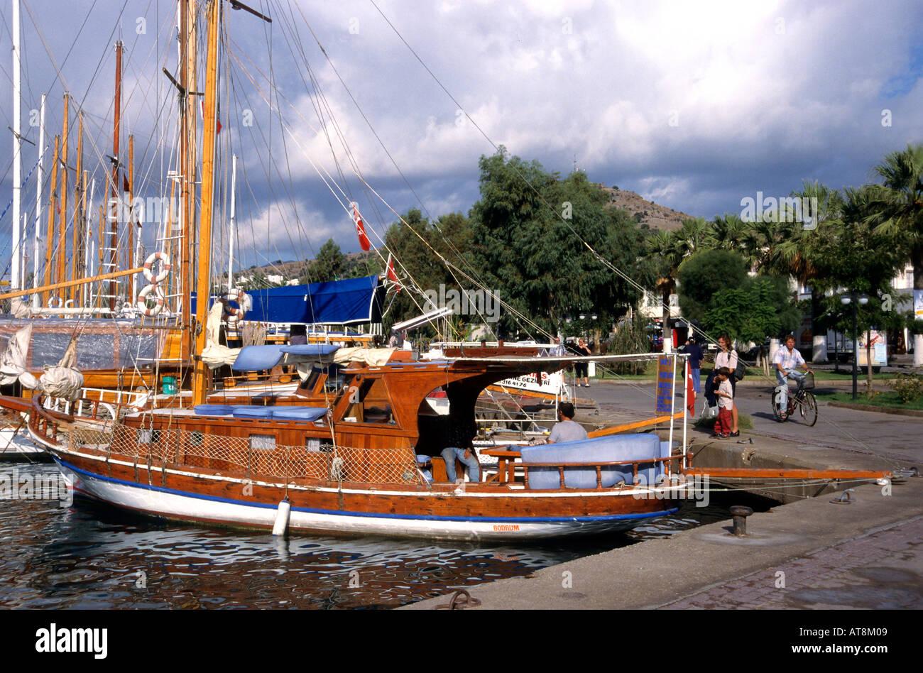 Bodrum Turkish Turkey port harbor boat castle sea - Stock Image