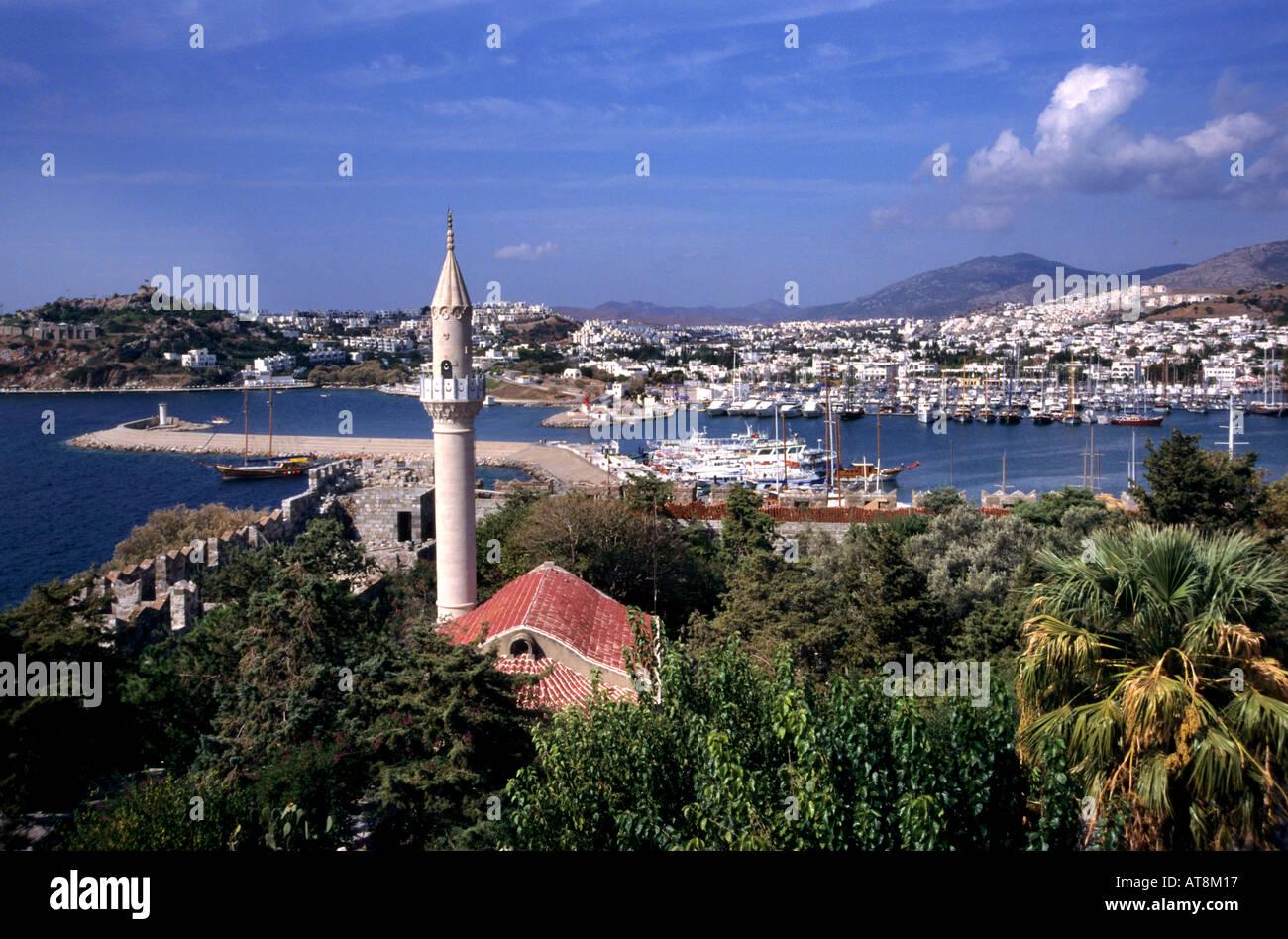Bodrum Turkish Turkey port harbor boat vessel sea - Stock Image