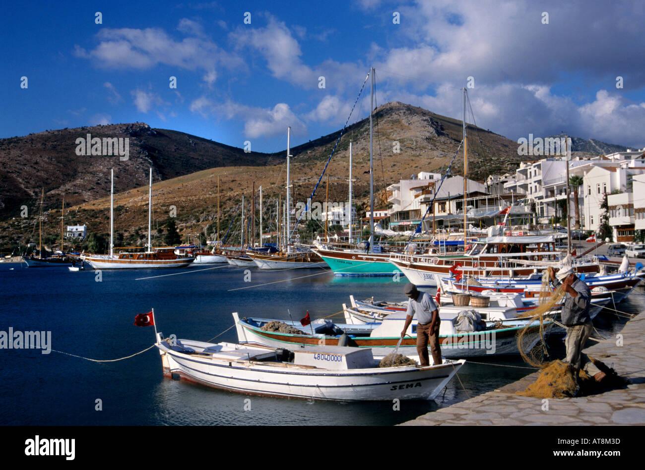 Datca Turkish Turkey port harbor boat vessel - Stock Image