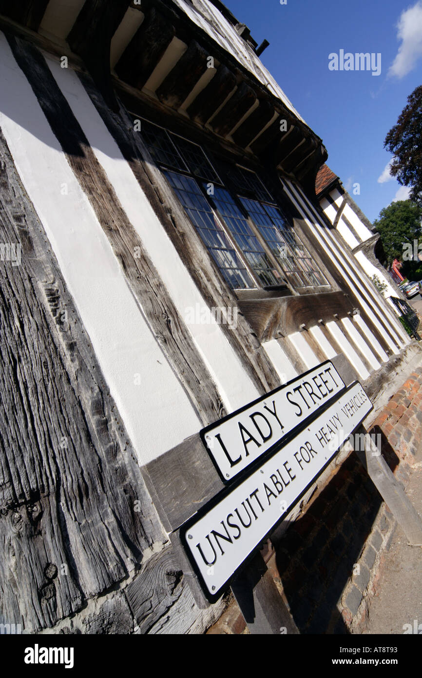 Lady Street sign in front of the Wool Hall Lavenham Suffolk UK - Stock Image