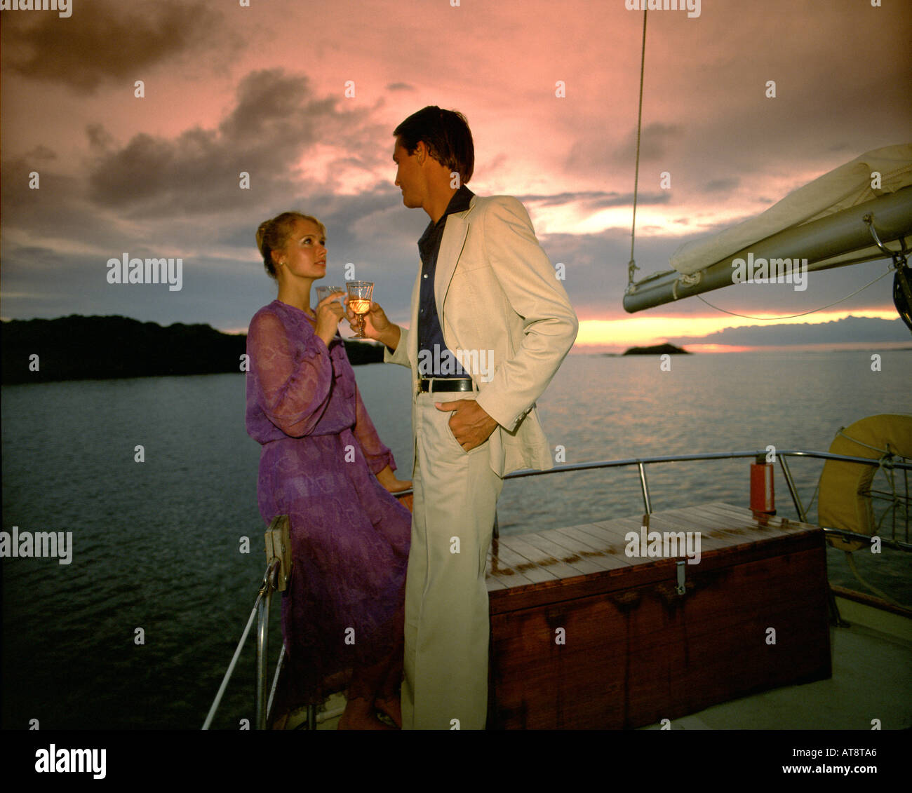 BS -THE BAHAMAS:  Romantic evening on board of yacht - Stock Image