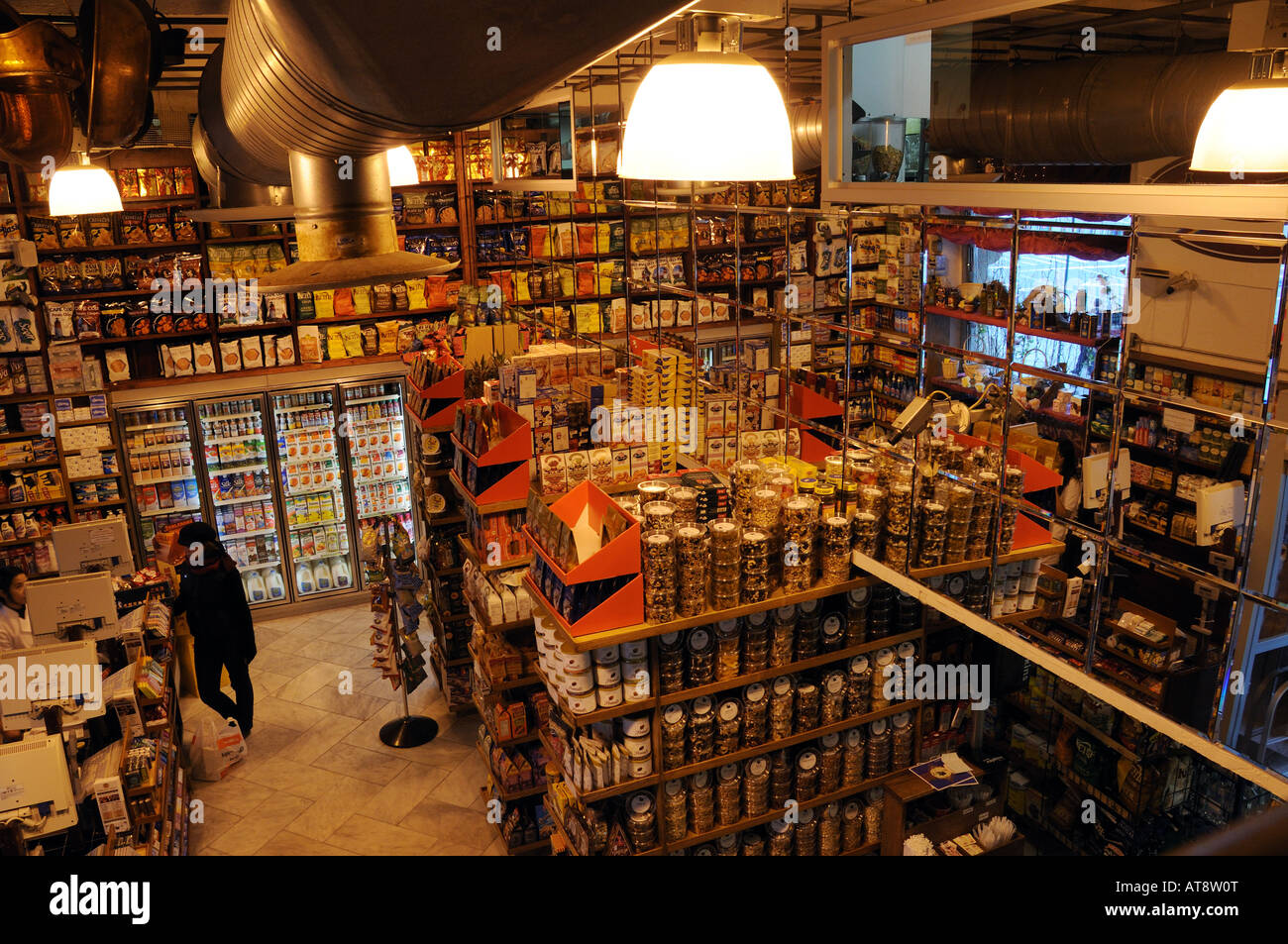 Interior of a small grocery store in lower manhattan new york city stock