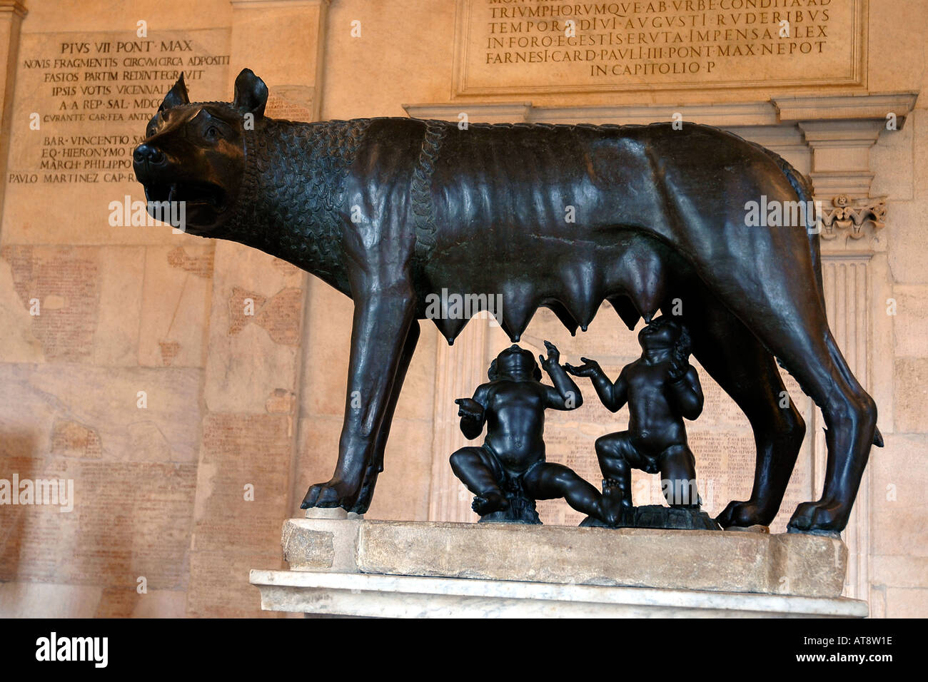 Etruscan bronze statue of the legendary she-wolf suckling twins Romulus and Remus, symbol of Rome, in the Capitoline - Stock Image