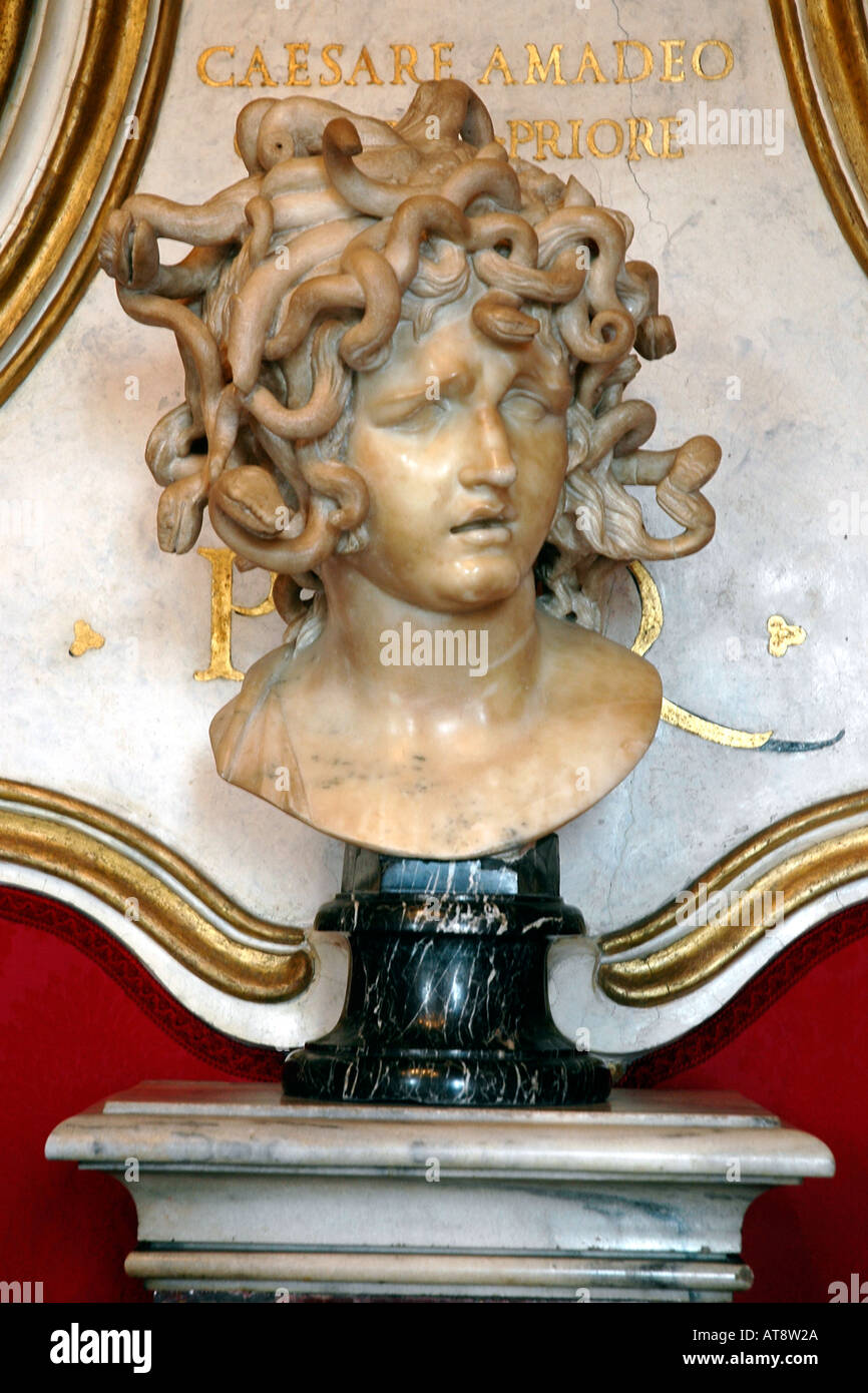 A traumatised Medusa, her head wreathed in serpents, by Gian Lorenzo Bernini in Rome's Capitoline museums - Stock Image