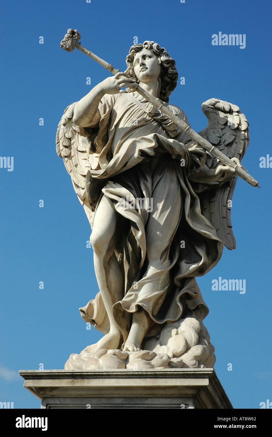 One of Bernini's striking baroque statues adorning the Sant'Angelo bridge across the Tiber in Rome - Stock Image