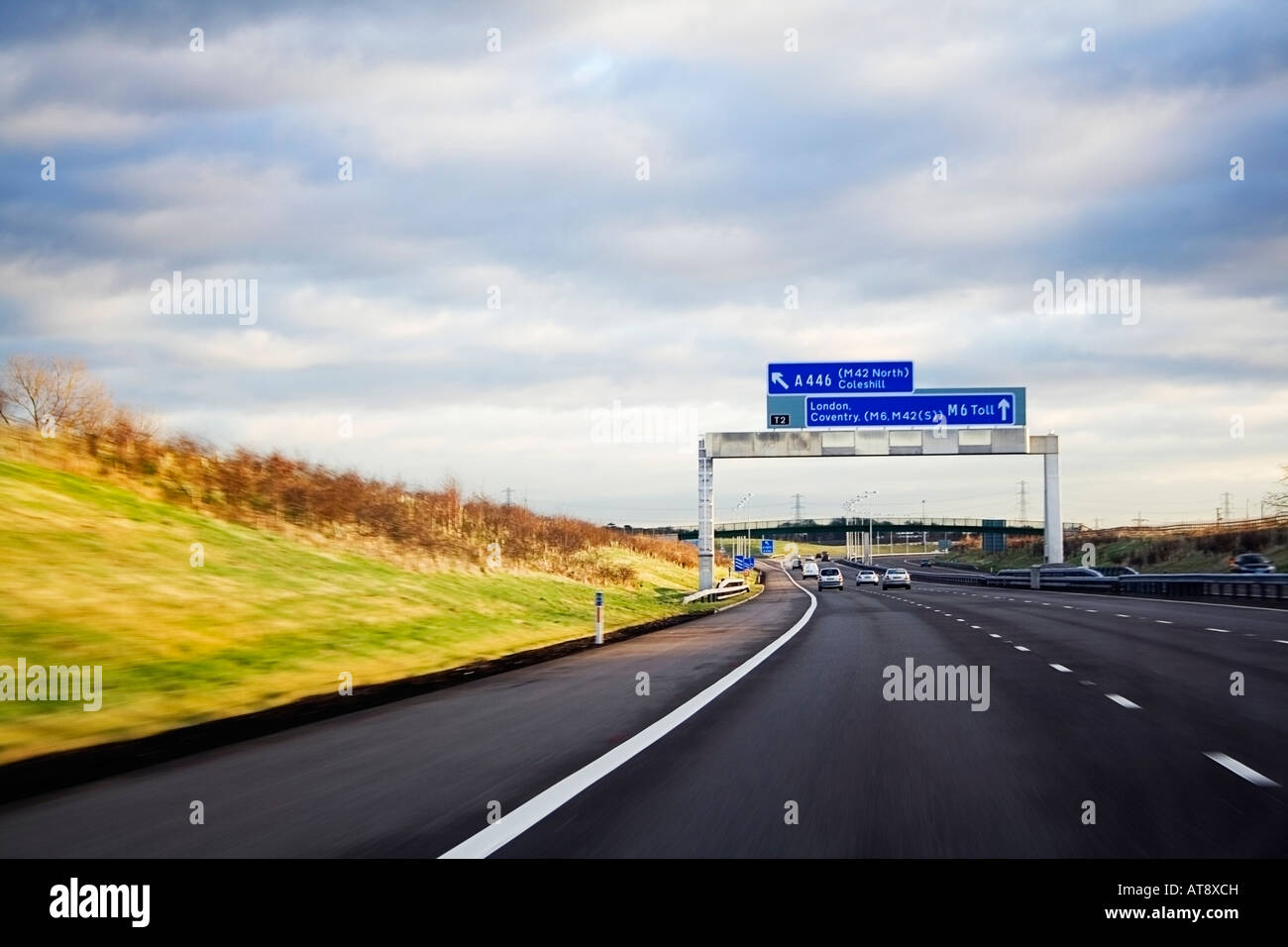motorway travelling south to london coventry - Stock Image