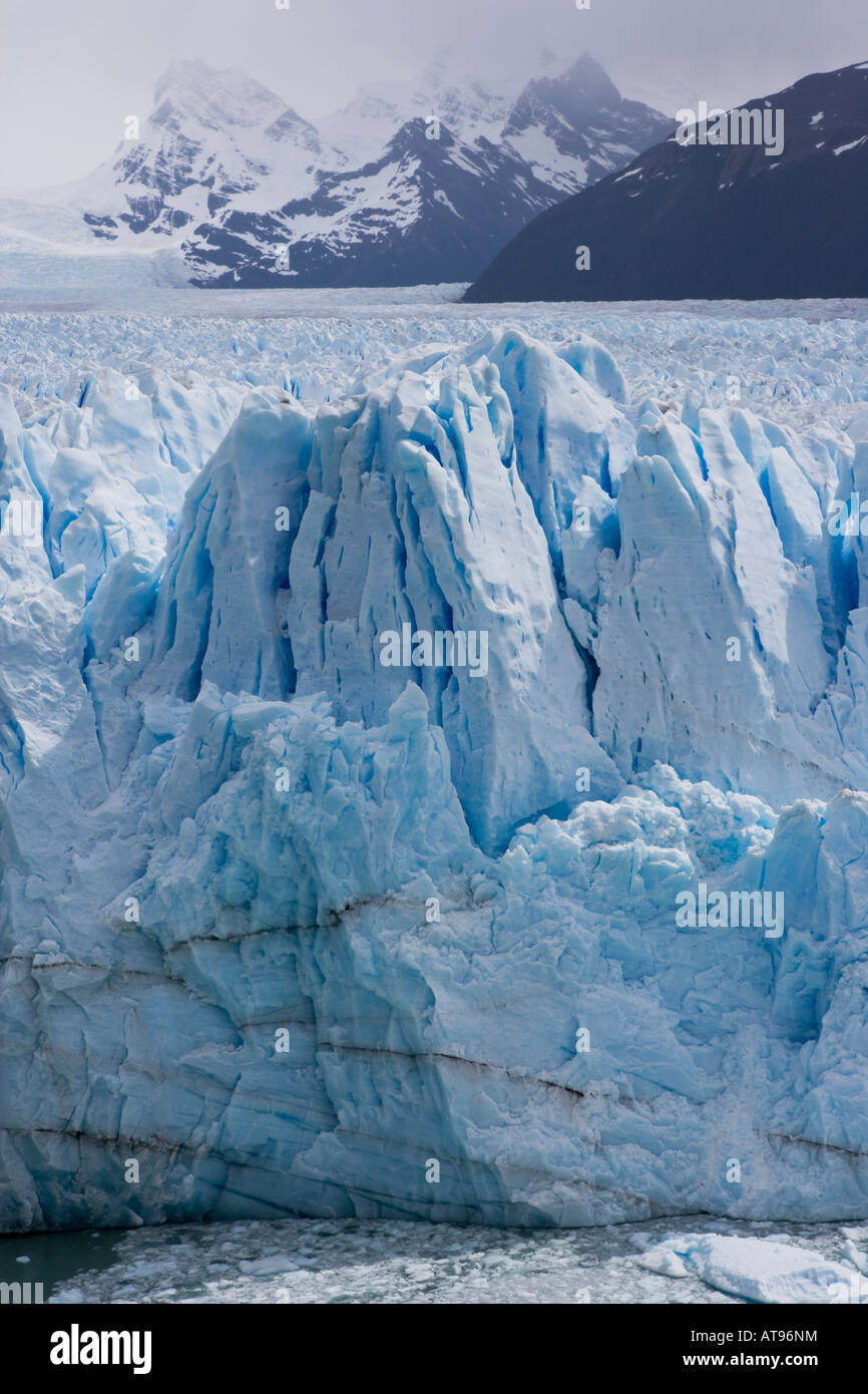 Compacted ice terminus of Perito Moreno Glacier in Los Glaciares National Park, Argentina - Stock Image