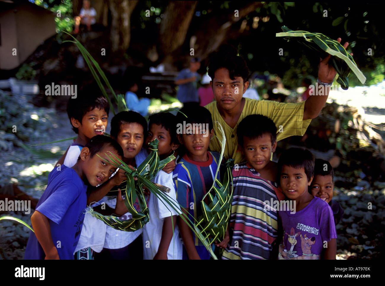 Young Native Boys In Yap Display Ti Leaf Handicrafts In Yap Stock