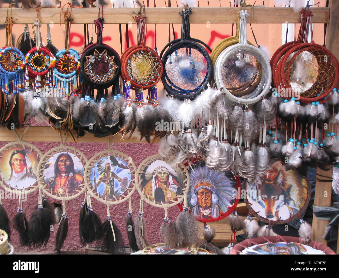 dreamcatcher at market in Otavalo - Stock Image