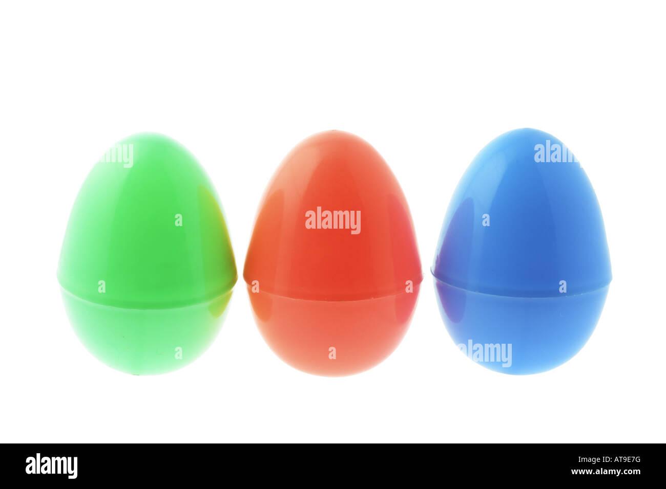 Plastic Easter Eggs On White Background