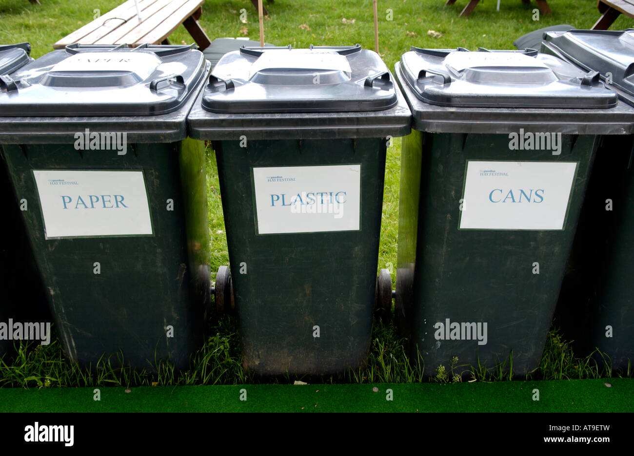 Recycling bins at The Guardian Hay Festival 2007 Hay on Wye Powys Wales UK EU - Stock Image