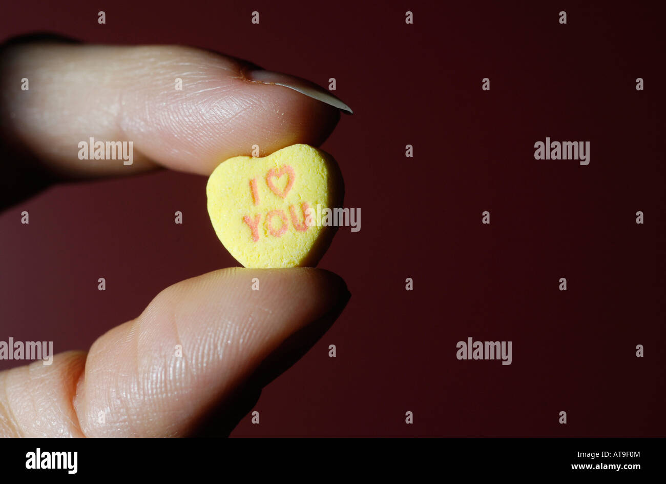 Woman Holding Candy Heart Saying I Love You Stock Photo 16246387