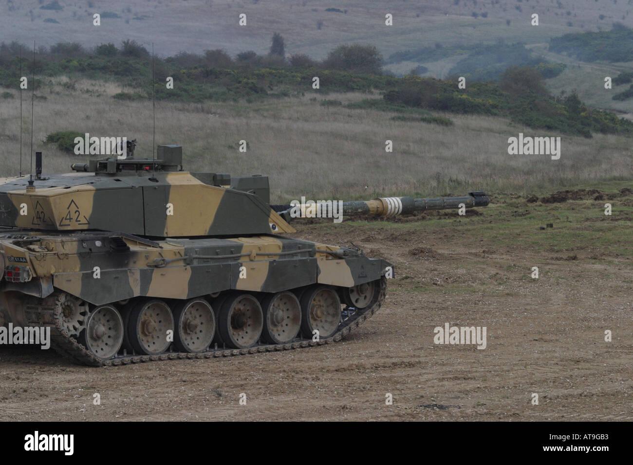 f278f388d046 British Army Challenger 2 main battle tank preparing to fire its 120 mm gun  photo