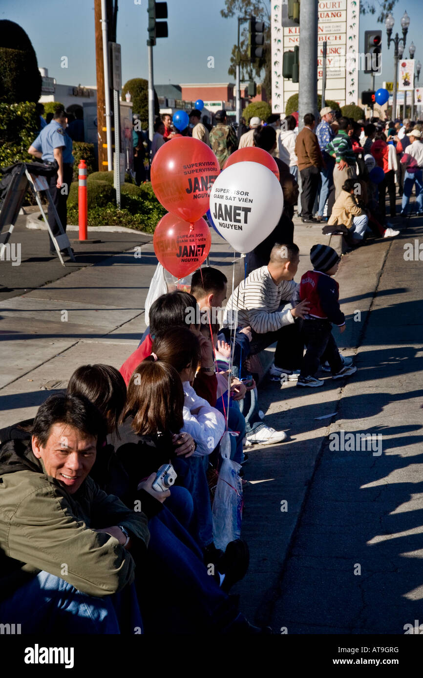 Vietnamese-American politician's balloons at Tet Parade 'Little Saigon' Westminster California - Stock Image