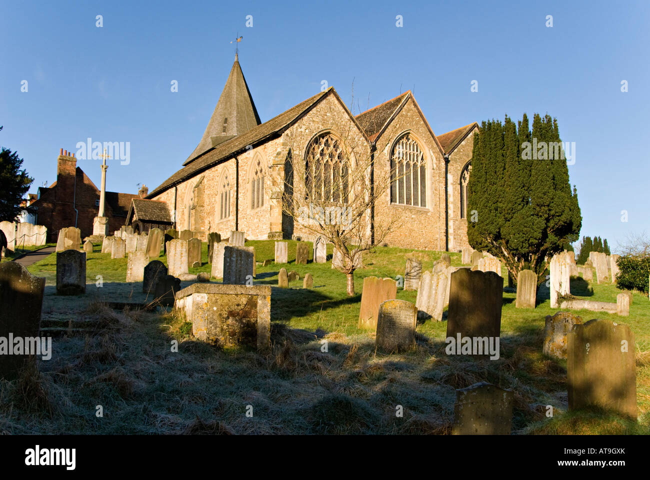 Early Morning View of St. Mary's Church, Westerham, Kent, England. - Stock Image