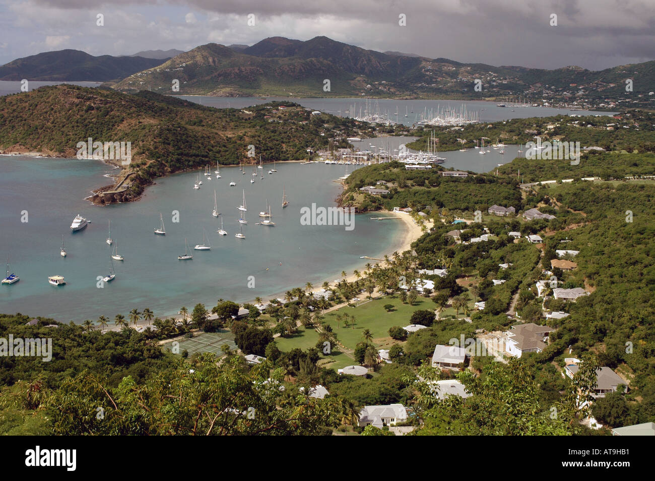 Antigua overlooking English Harbour and Nelson s Dockyard from Shirley Heights - Stock Image