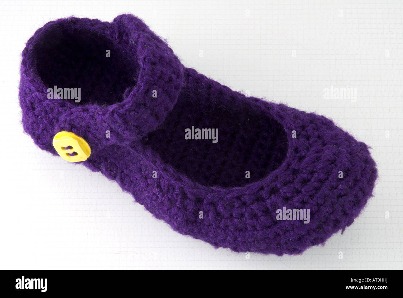 Right foot of crocheted Mary Jane slippers Stock Photo