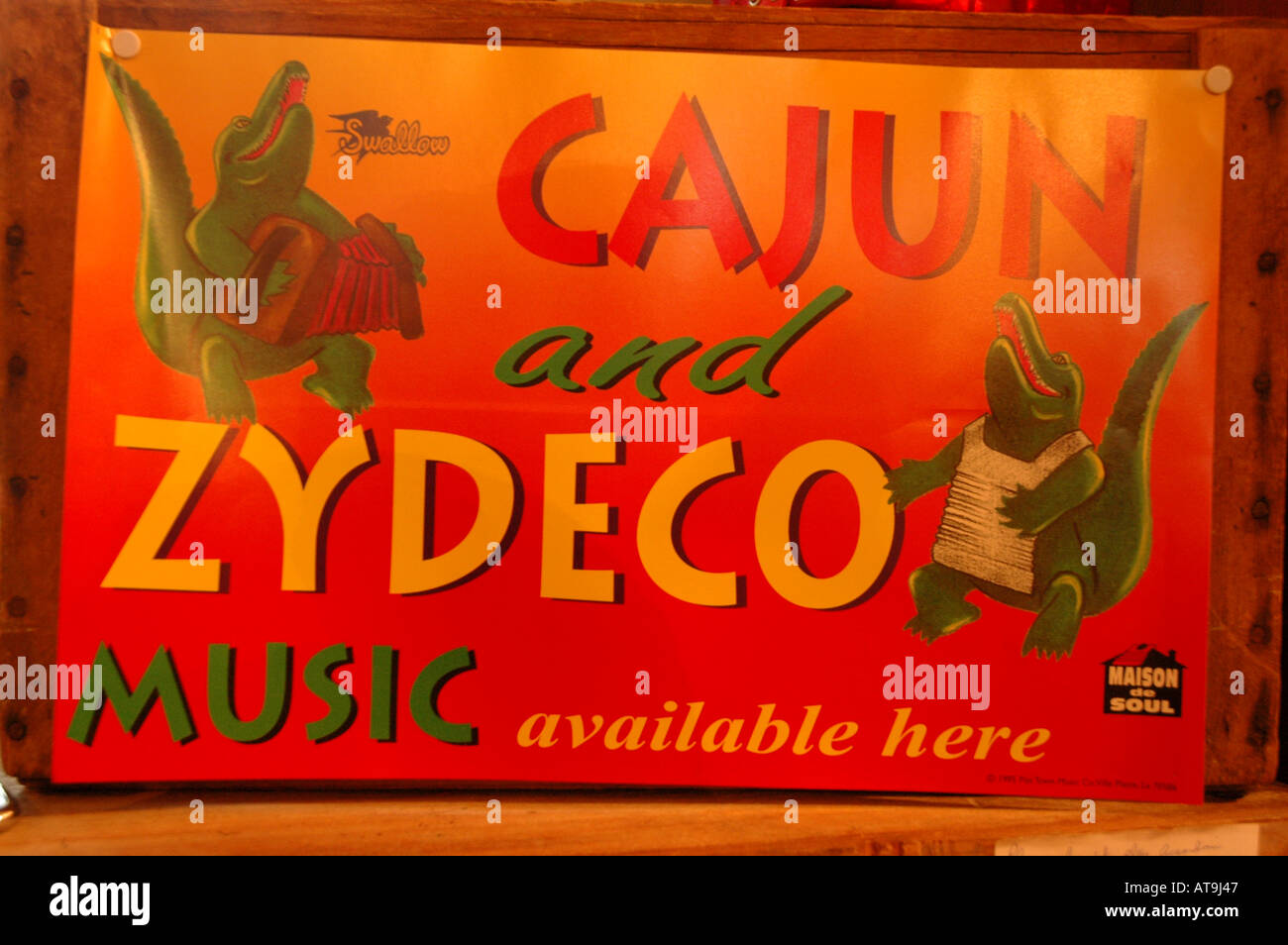 Lafayette Louisiana cajun and zydeco music sign with alligator - Stock Image