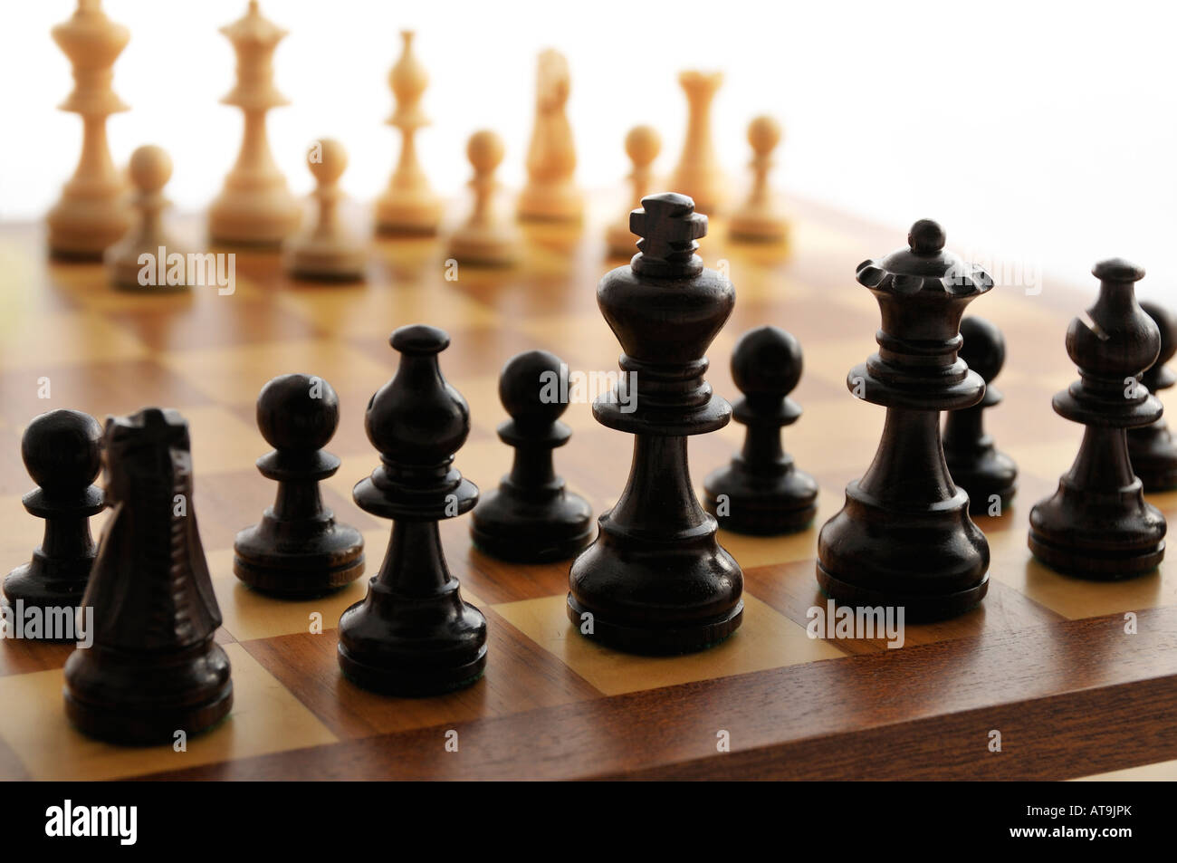 A chess board set up ready for a game - Stock Image